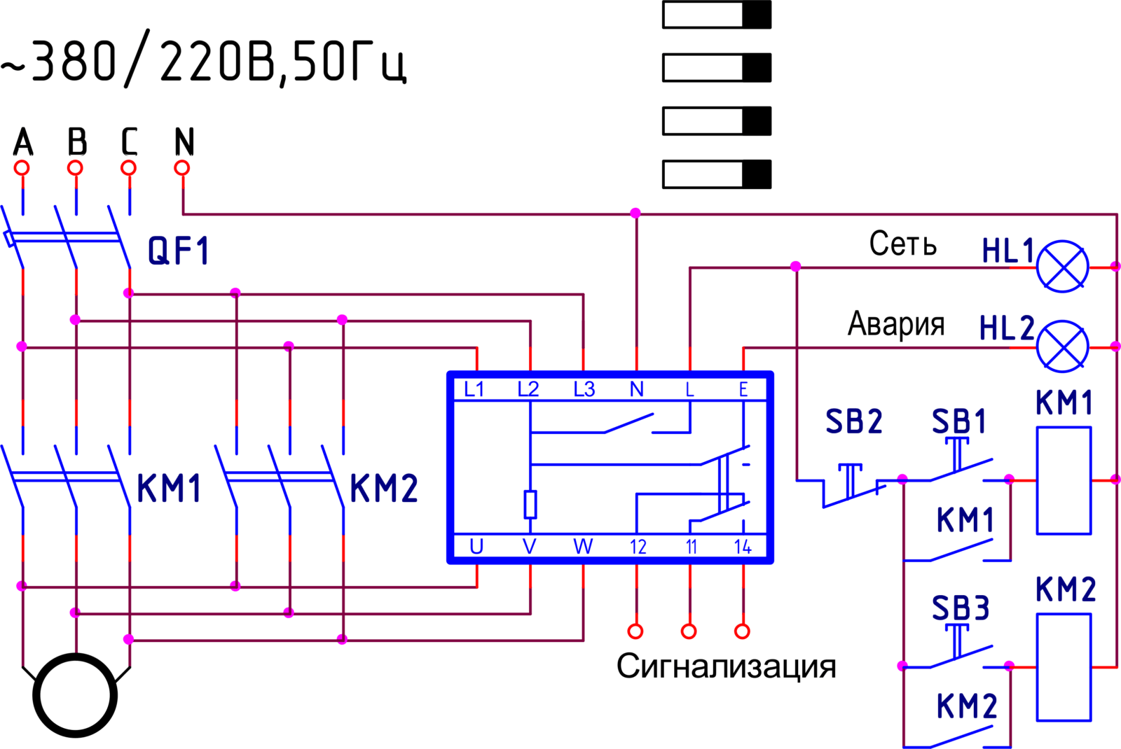 Схема защиты электродвигателя от перенапряжения ~380В