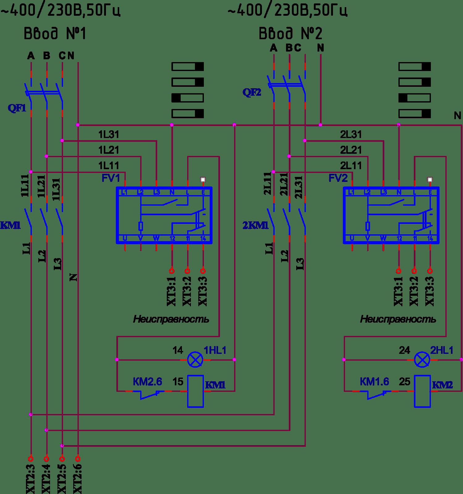 АВР с реле контроля фаз и напряжения. РНЛ-1