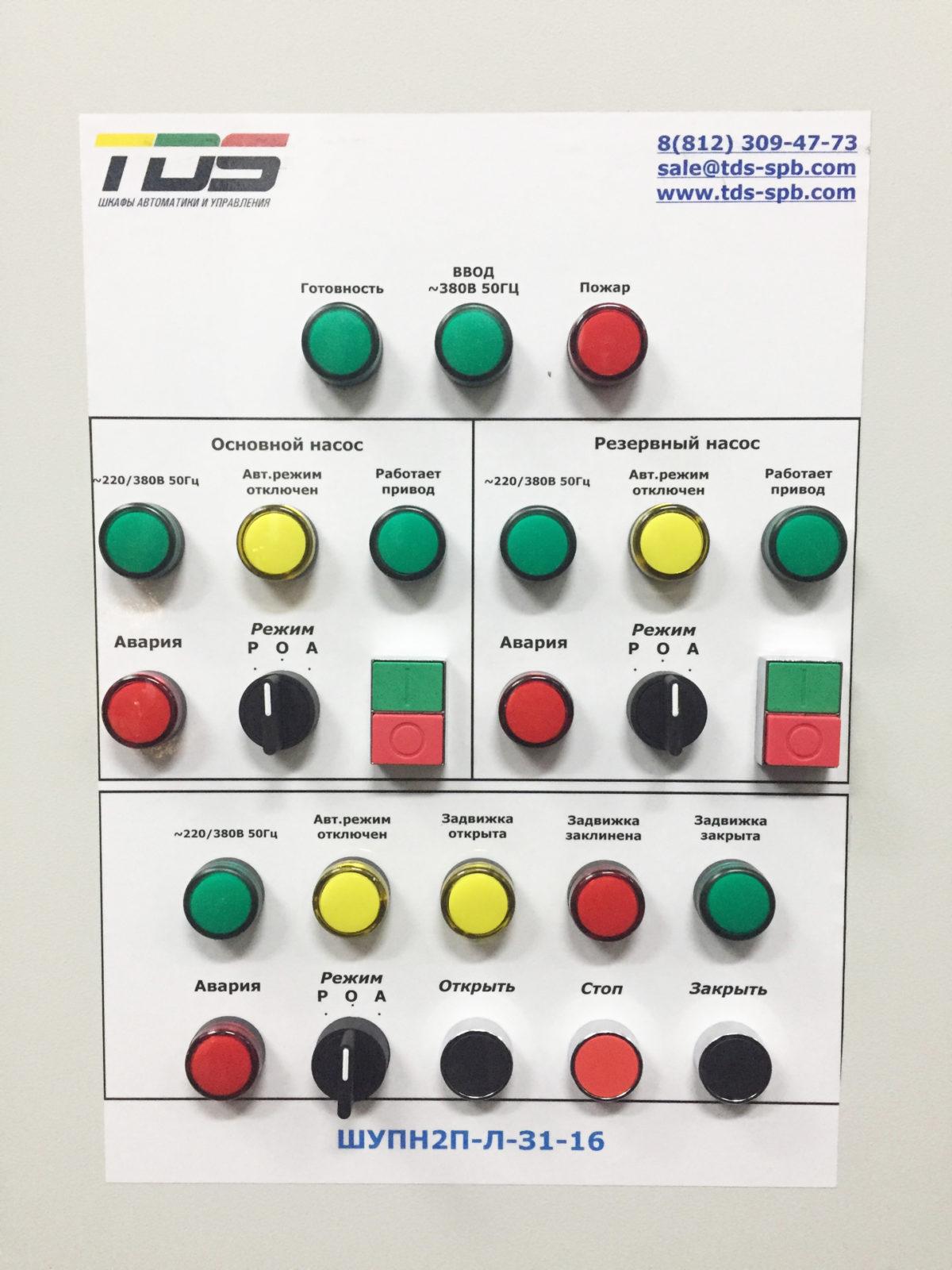 Шкаф управления пожарными насосами по схеме (Основной +Резервный+Задвижка) ШУПН2/1-32/x-ЛЗ (IP54)